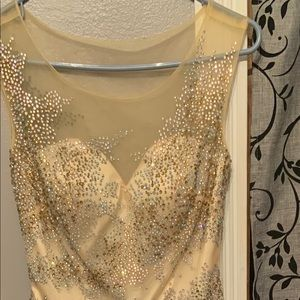 Long White and Gold Prom Dress